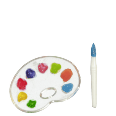 dollhouse miniature paint palette and brush