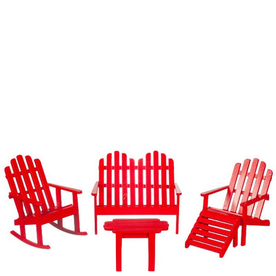 Dollhouse Miniature Red Adirondack Chair Set - Little Shop of Miniatures