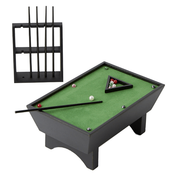 dollhouse miniature pool table with racks