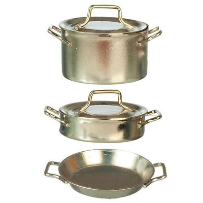 Nickel Dollhouse Miniature Pots and Pans - Little Shop of Miniatures