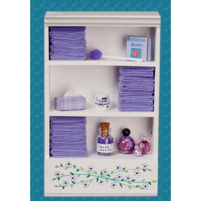Dollhouse Miniature Purple Accented Bath Cabinet - Little Shop of Miniatures
