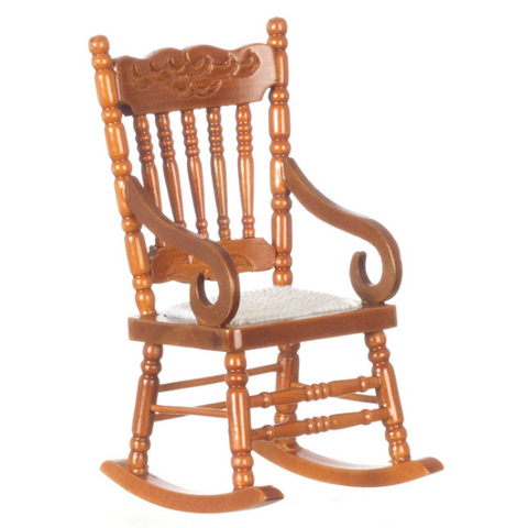Walnut Dollhouse Miniature Rocking Chair - Little Shop of Miniatures