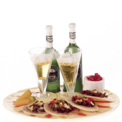 Dollhouse Miniature Beer, Salsa & Tostados - Little Shop of Miniatures