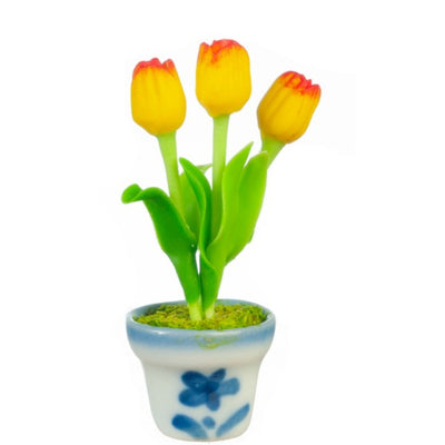 Yellow & Red Dollhouse Miniature Tulips in a Pot - Little Shop of Miniatures