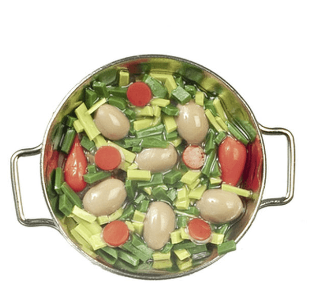 dollhouse miniature vegetables in a pan