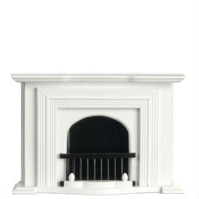 White Dollhouse Miniature Fireplace - Little Shop of Miniatures