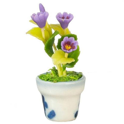 Purple Dollhouse Miniature Gazania in a Pot - Little Shop of Miniatures