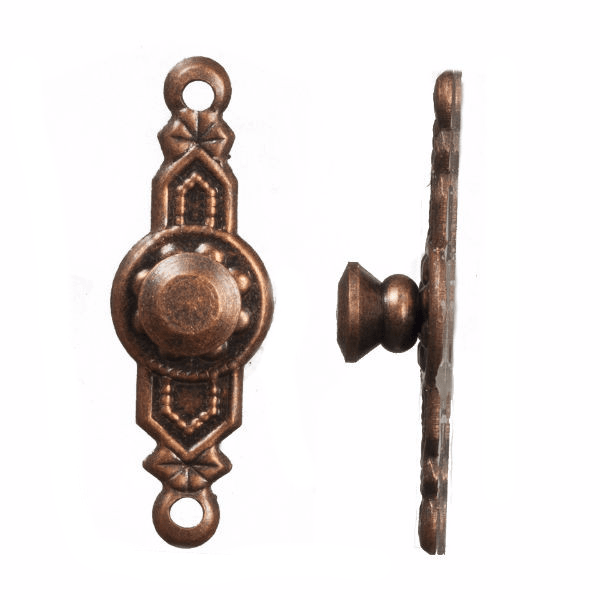 Two dollhouse brass door knobs.