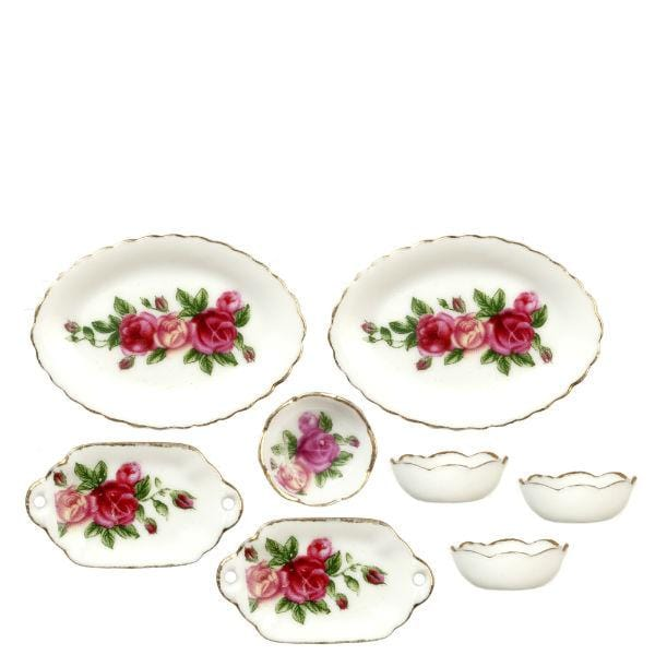 floral dollhouse miniature china bowls and platters