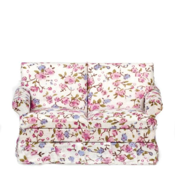 floral dollhouse miniature loveseat