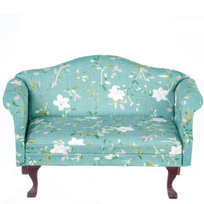 Turquoise Floral Dollhouse Miniature Loveseat - Little Shop of Miniatures