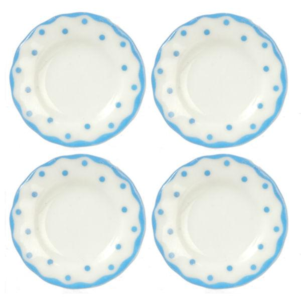 four blue polka dot dollhouse miniature plates