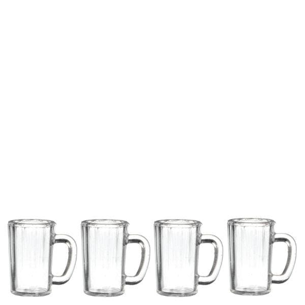 four dollhouse miniature beer mugs