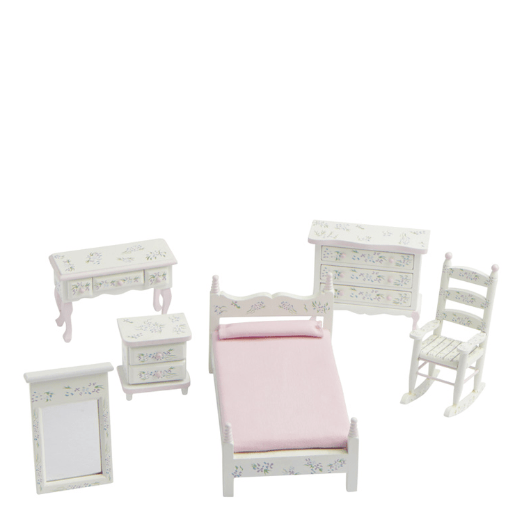 5-Piece Pink Floral Dollhouse Miniature Bedroom Set