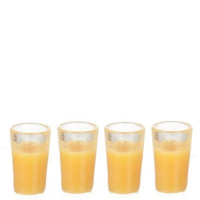 4 Glasses of Dollhouse Miniature Orange Juice - Little Shop of Miniatures
