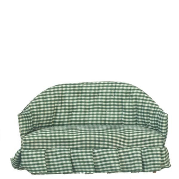 green gingham dollhouse sofa