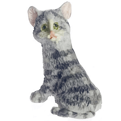 Grey Dollhouse Miniature Kitten - Little Shop of Miniatures