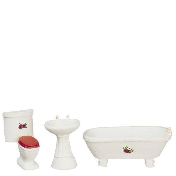 half scale dollhouse miniature tub sink and toilet