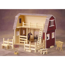 Interior of a barn dollhouse.