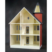 Interior of painted lady wood dollhouse.