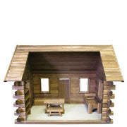 interior of wooden dollhouse kit log cabin