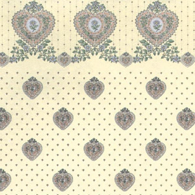 Cream Petite Heart Dollhouse Wallpaper - Little Shop of Miniatures