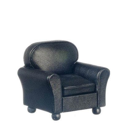 Black Leather Dollhouse Miniature Club Chair - Little Shop of Miniatures