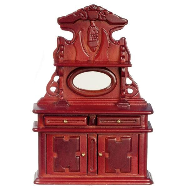 mahogany dollhouse miniature hutch cabinet