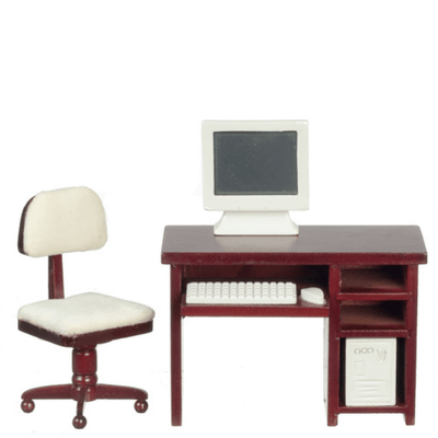 Mahogany Dollhouse Miniature Computer Desk Set - Little Shop of Miniatures