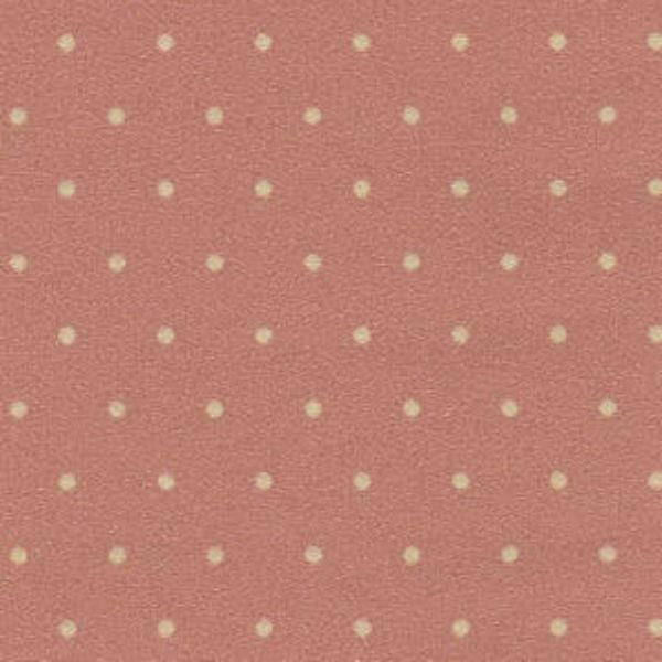Mauve dollhouse miniature wallpaper with green polka dots.