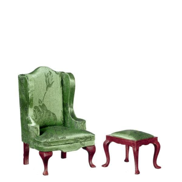 miniature green chair and stool