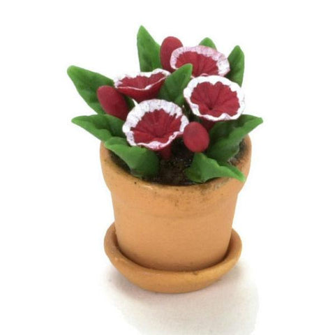 Red & White Dollhouse Miniature Petunias in a Pot - Little Shop of Miniatures