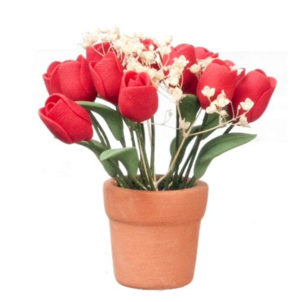 miniature red tulips in a pot