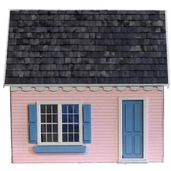 Miniature wood dollhouse keeper's house.