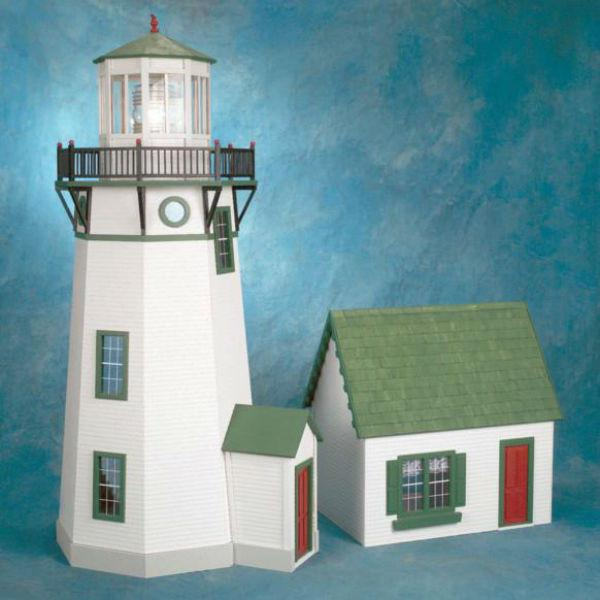 Miniature wood lighthouse and keeper's house.