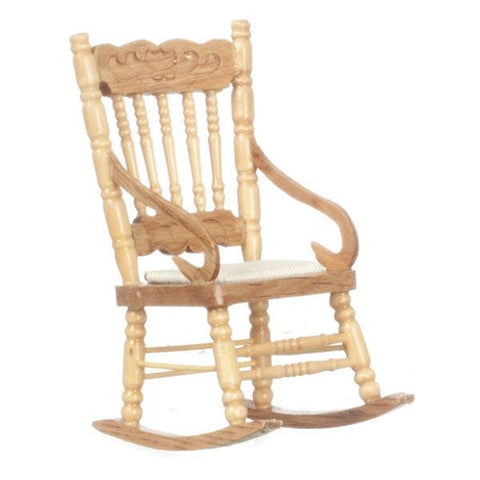 Oak Dollhouse Miniature Rocking Chair - Little Shop of Miniatures