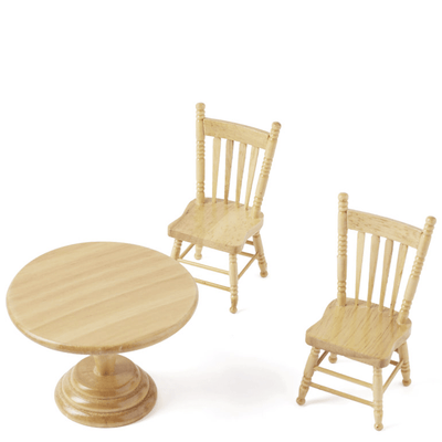 3-Piece Oak Dollhouse Miniature Kitchen Table Set - Little Shop of Miniatures