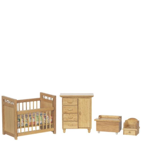 oak dollhouse miniature nursery set