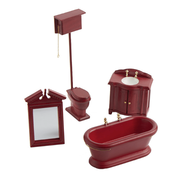 old fashioned dollhouse miniature bathroom set