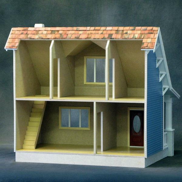 Interior of a finished wooden dollhouse kit that is a replica of a Craftsman beach bungalow.
