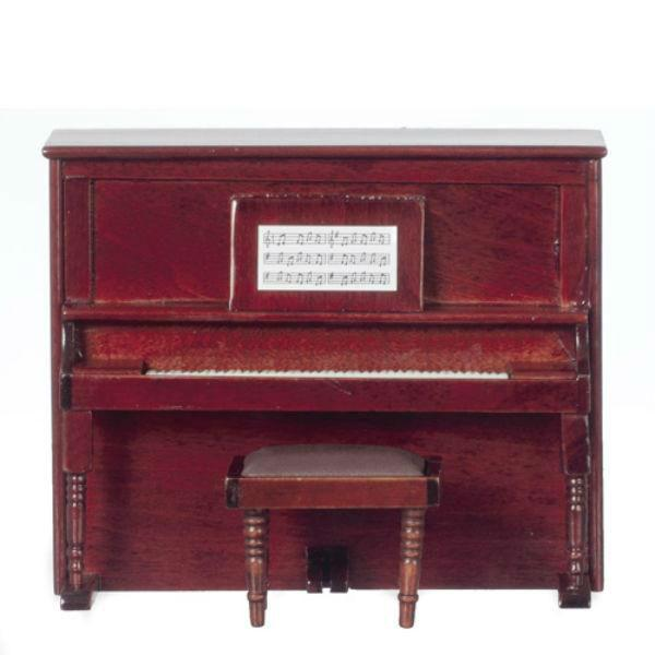 Mahogany Dollhouse Miniature Upright Piano with Bench