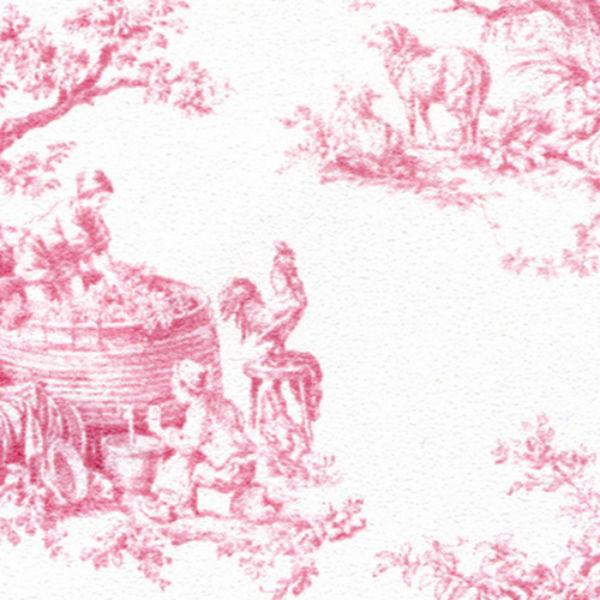 Pink toile dollhouse wallpaper.