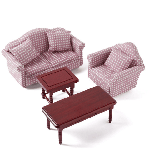 Pink Check Dollhouse Miniature Living Room Set - Little Shop of Miniatures