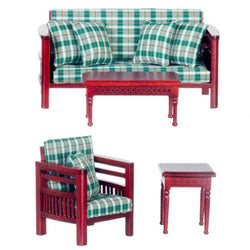 plaid dollhouse miniature living room furniture