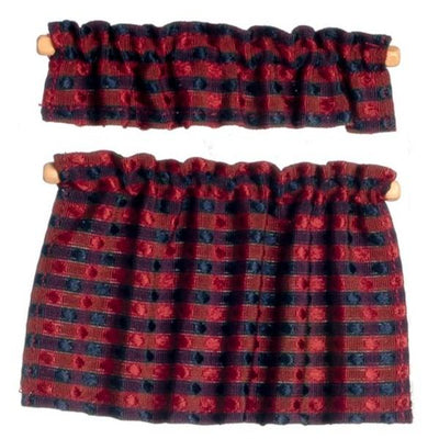 Red & Blue Plaid Dollhouse Miniatures Cafe Curtains - Little Shop of Miniatures