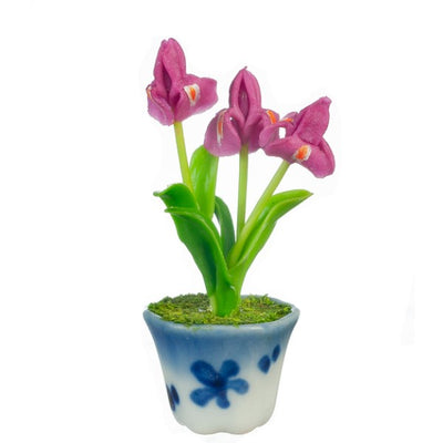 Fushia Dollhouse Miniature Iris In A Pot - Little Shop of Miniatures