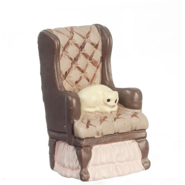 quarter scale dollhouse miniature chair with cat