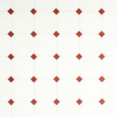 Red & White Diamond Dollhouse Tile Sheet - Little Shop of Miniatures