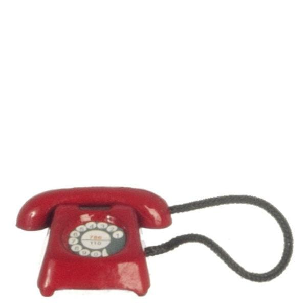 red dollhouse miniature rotary phone