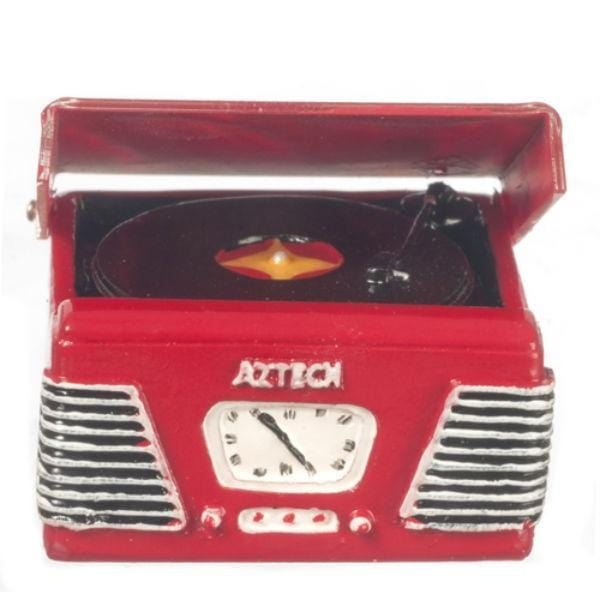 red dollhouse miniature turntable